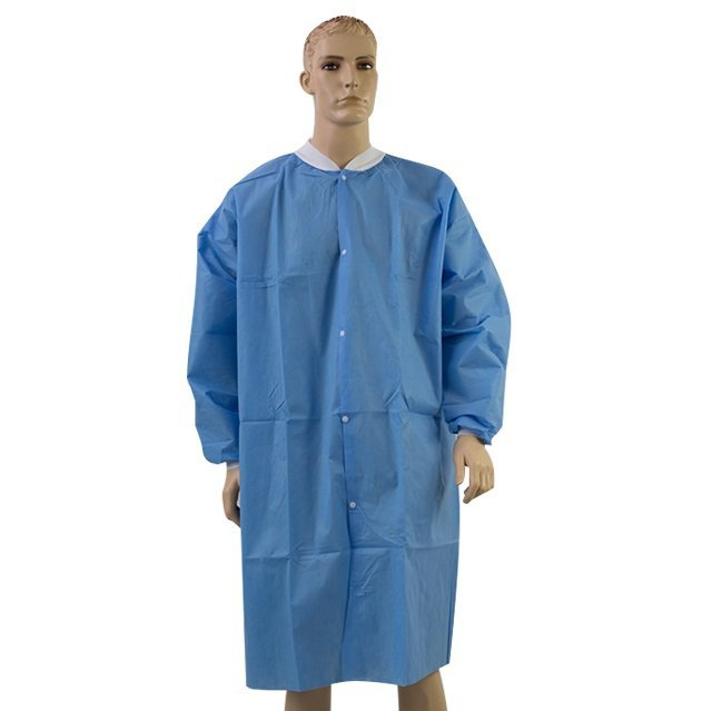 Lab Coat Disposable Protective Knitted Collar With Knitted cuff